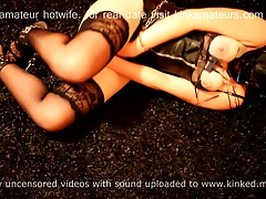 Submessive cuckold selfbondage  session: estim +