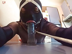 INTRO-Kitchen table dildo throating & ass-fuck ring ball-gagged bitch