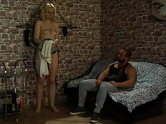 Pretty ash-blonde pays her father's debt.