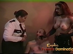 Policewoman and a domme  up to interrogate