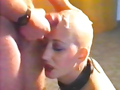Vintage cum shot on a clean-shaved head