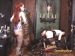 Ball-gagged sub takes everything the domme has planned