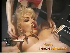 Blonde goddess makes her domme happy in the fuckfest