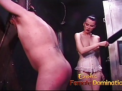 Kinky fellow loves getting slapped by a red-hot gal with enormous