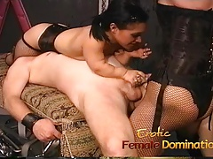 nasty dark haired tramps  pulverizing a ultra-kinky well-hung
