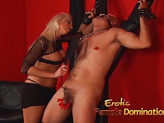 Crazy blond  Nikki Hunter pleasures her mans yam-sized