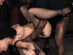 Huge-titted squirter skank nailed by  maledoms