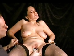 Mature slave with super-steamy saggy boobs