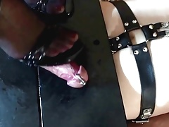 Domina Frankie trampling on a slave's pecker