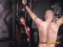 Slender honey wearing latex has some dungeon joy with a shaved