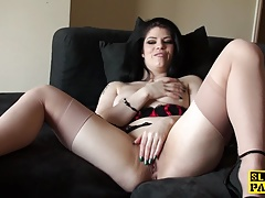 Solo uk whore massaging her clit until ejaculation