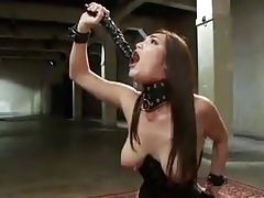 Gimp gags  her gullet with dual