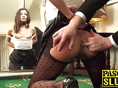 Dark-haired slut needs to be taught her place before assfuck