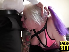 BBW mature milf fuckfest slave gets her face and feet spunked