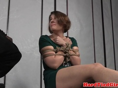 Bound  slave tied and lashed by ebony dom