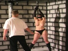 slut gets bound to the ceiling by  boy
