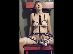 Dayonara roped to chair and compelled to orgasm