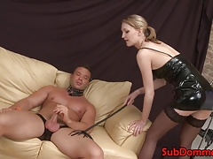 Towheaded  female dom playthings subs caboose with dildo