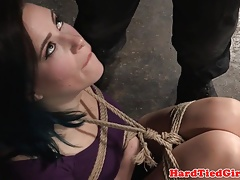 Buxomy domination & submission sub corded up and toyed by male domination