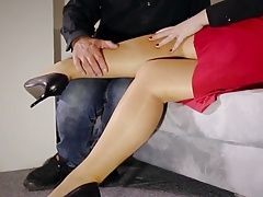 Super-naughty Teacher mummy footjob  stockings screwing unload