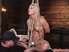 Towheaded bdsm slave flagellated till she