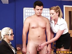 Brit office femdoms jerk  in breakroom