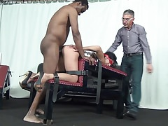 2 dudes predominate a horny sub hoe with bandaged eyes