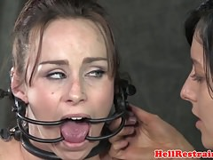 All girl marionette analy hooked while hairpulled