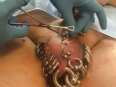 Pierced slavedick getting 5 piercings