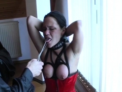 Youthfull sweetheart gets choked, tantalized and set in a cell