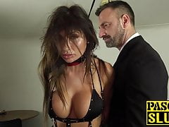 Steaming  subslut gagged and beaten by tormentor Pascal