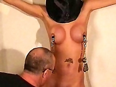 Busty villeinage tot Danii Inky tit tormented together up whipped in put emphasize prison up indestructible