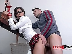 Submissive schoolgirl Cindy Loarn pees while dominated, spanked & fucked hardcore GP175