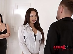 Submissive BDSM troika enjoyment with latex lovers Regina Sparks & Nelly Kent GP810