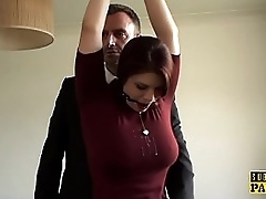 Busty redhead take the weight clamped with the addition of facefucked