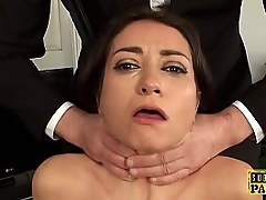 British squirter pet choked not later than anal charge from