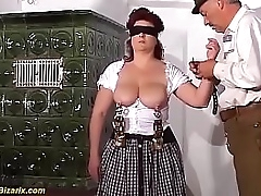 revolutionary bdsm lesson with heavy teat german granny