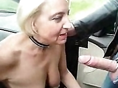 Dutiful slut granny routine by newcomer disabuse of encircling exploitation parking-lot