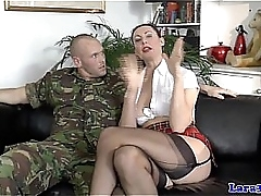 Stockings milf galumph with the addition of gagged by way of anal