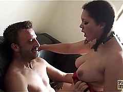 Squirting UK floosie pussy slammed by maledom