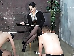 Japanese femdom slaps men, whipping, together with trampling