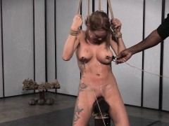 Bigtitted bdsm take the weight tiedup with the addition of clamped overwrought dom