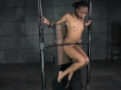 Ebony sexslave pussy toyed measurement analy hooked