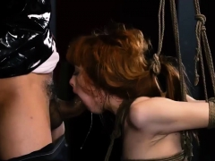 Pussy slave coupled with snatch and rub out will not hear of facet rough Morose youthful