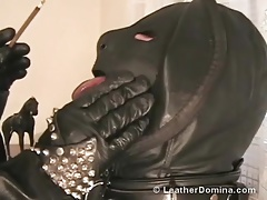 The Leather Domina - Smoking Fetish - Human Ashtray
