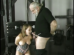 Cock-loving  smiles as she is bound, gagged, and her  clamped.
