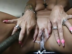 horny platinum-blonde mature spraying