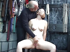 Superior man helps nude nymph wank