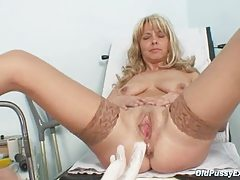 Mature Jirina With Her  Widely opened On Gyno Chair