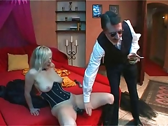 Ash-blonde sub Dildoing and  under whip